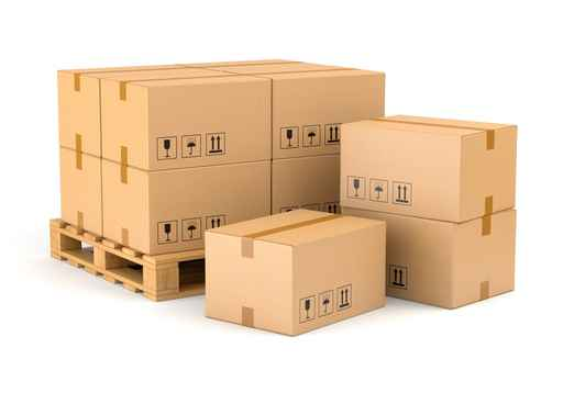 Cardboard boxes and pallet